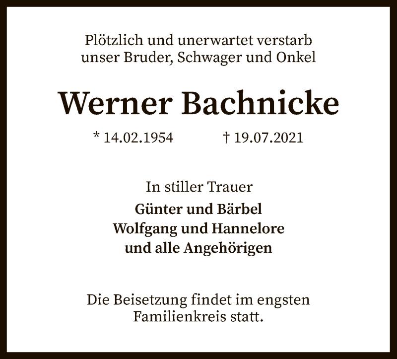 Traueranzeige für Werner Bachnicke vom 22.07.2021 aus SYK