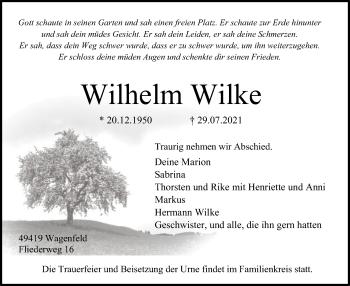 Traueranzeige von Wilhelm Wilke von SYK