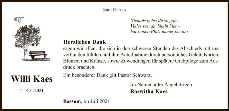 Traueranzeige für Willi Kaes vom 17.07.2021 aus SYK