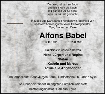 Traueranzeige von Alfons Babel von SYK