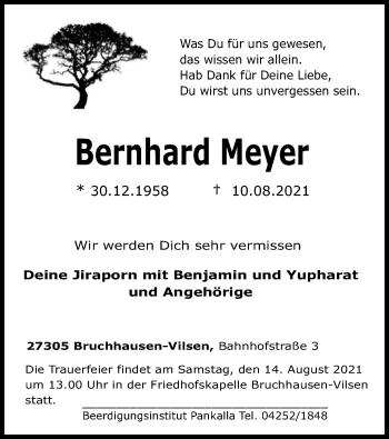 Traueranzeige von Bernhard Meyer von SYK