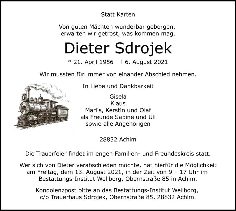 Traueranzeige für Dieter Sdrojek vom 12.08.2021 aus SYK