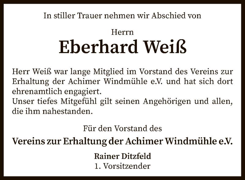 Traueranzeige für Eberhard Weiß vom 17.08.2021 aus SYK