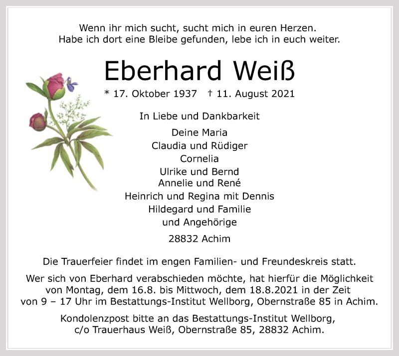 Traueranzeige für Eberhard Weiß vom 14.08.2021 aus SYK