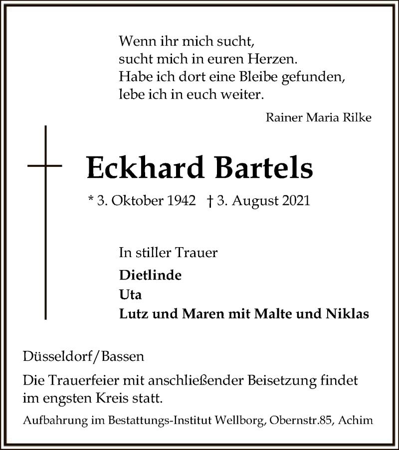 Traueranzeige für Eckhard Bartels vom 07.08.2021 aus SYK