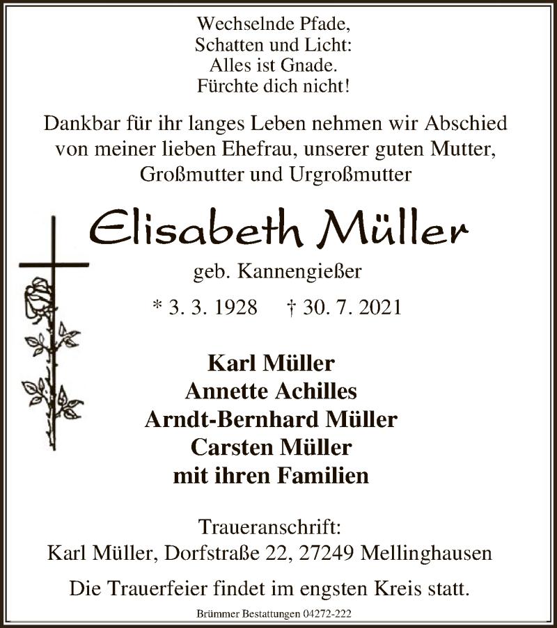 Traueranzeige für Elisabeth Müller vom 03.08.2021 aus SYK