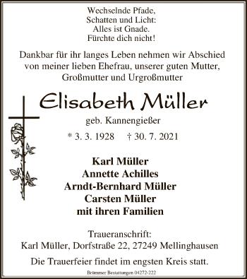 Traueranzeige von Elisabeth Müller von SYK