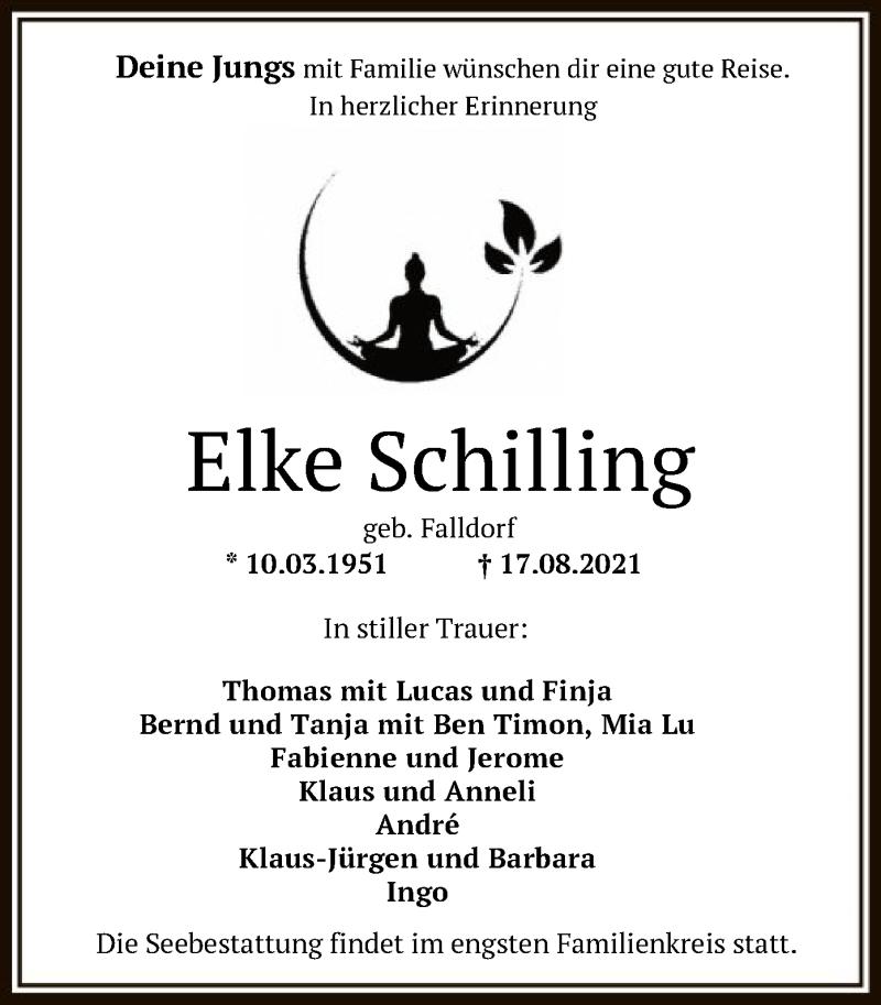 Traueranzeige für Elke Schilling vom 24.08.2021 aus SYK
