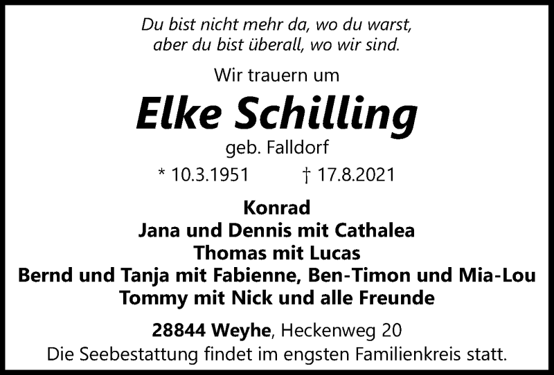 Traueranzeige für Elke Schilling vom 19.08.2021 aus SYK