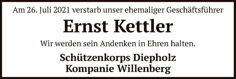 Traueranzeige für Ernst Kettler vom 03.08.2021 aus SYK