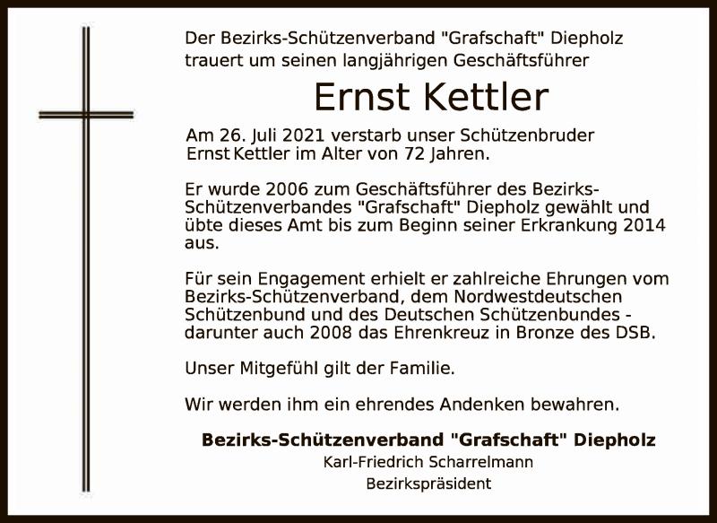 Traueranzeige für Ernst Kettler vom 10.08.2021 aus SYK