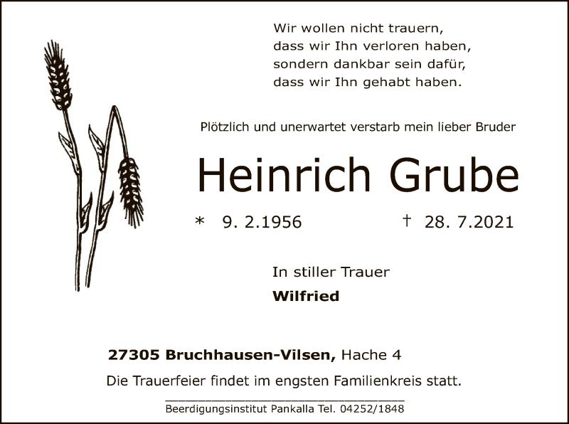Traueranzeige für Heinrich Grube vom 03.08.2021 aus SYK