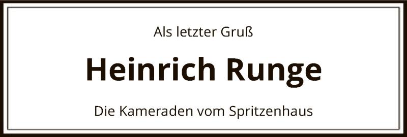 Traueranzeige für Heinrich Runge vom 13.08.2021 aus SYK