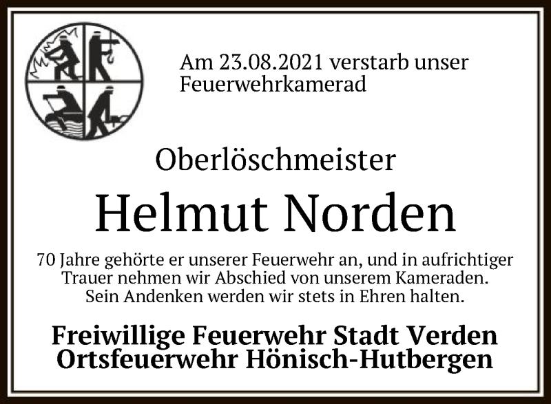 Traueranzeige für Helmut Norden vom 31.08.2021 aus SYK