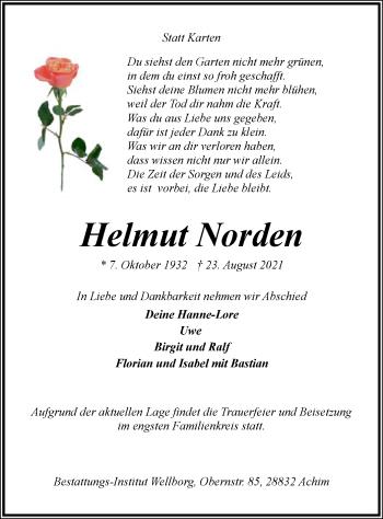 Traueranzeige von Helmut Norden von SYK