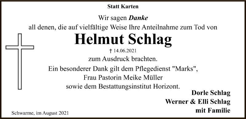 Traueranzeige für Helmut Schlag vom 14.08.2021 aus SYK