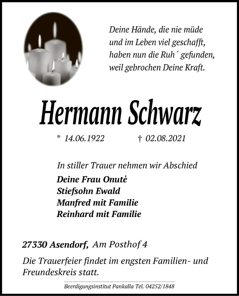Traueranzeige für Hermann Schwarz vom 05.08.2021 aus SYK
