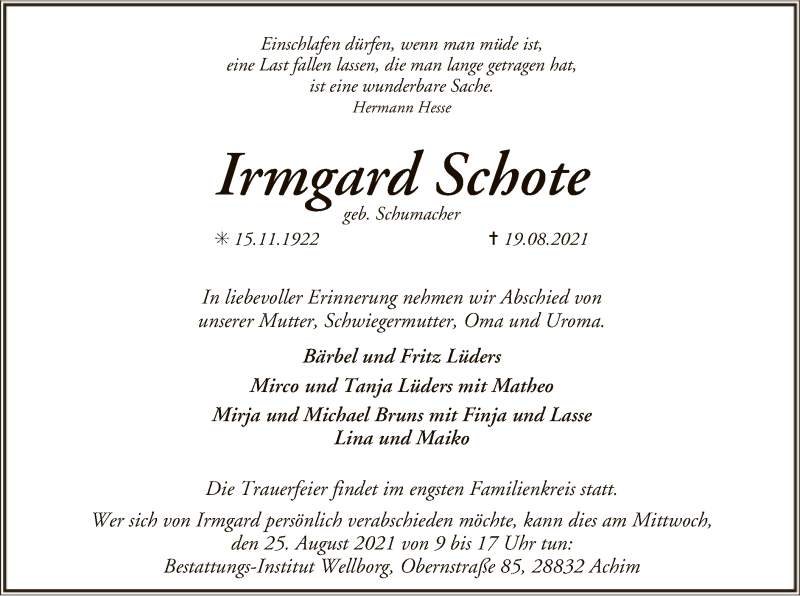 Traueranzeige für Irmgard Schote vom 24.08.2021 aus SYK
