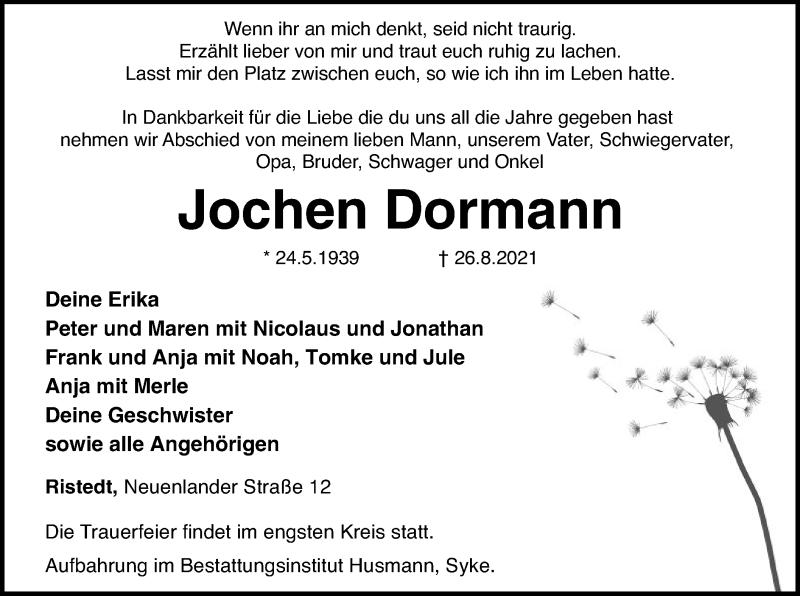 Traueranzeige für Jochen Dormann vom 28.08.2021 aus SYK