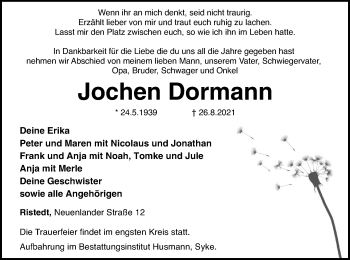 Traueranzeige von Jochen Dormann von SYK