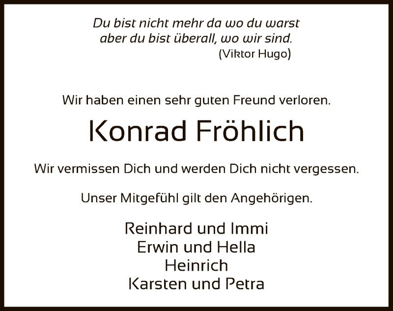 Traueranzeige für Konrad Fröhlich vom 28.08.2021 aus SYK