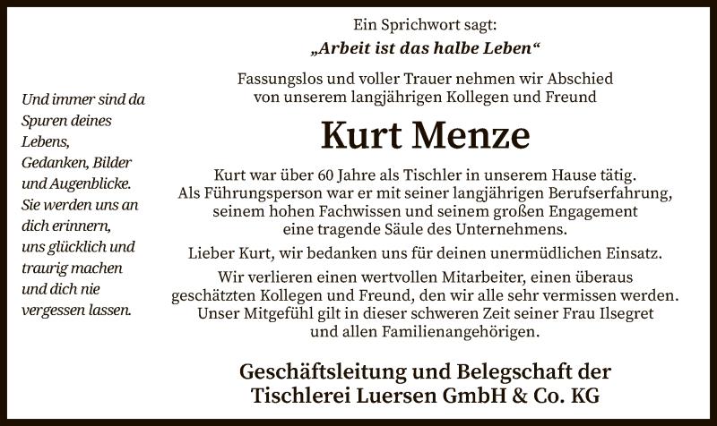 Traueranzeige für Kurt Menze vom 03.08.2021 aus SYK