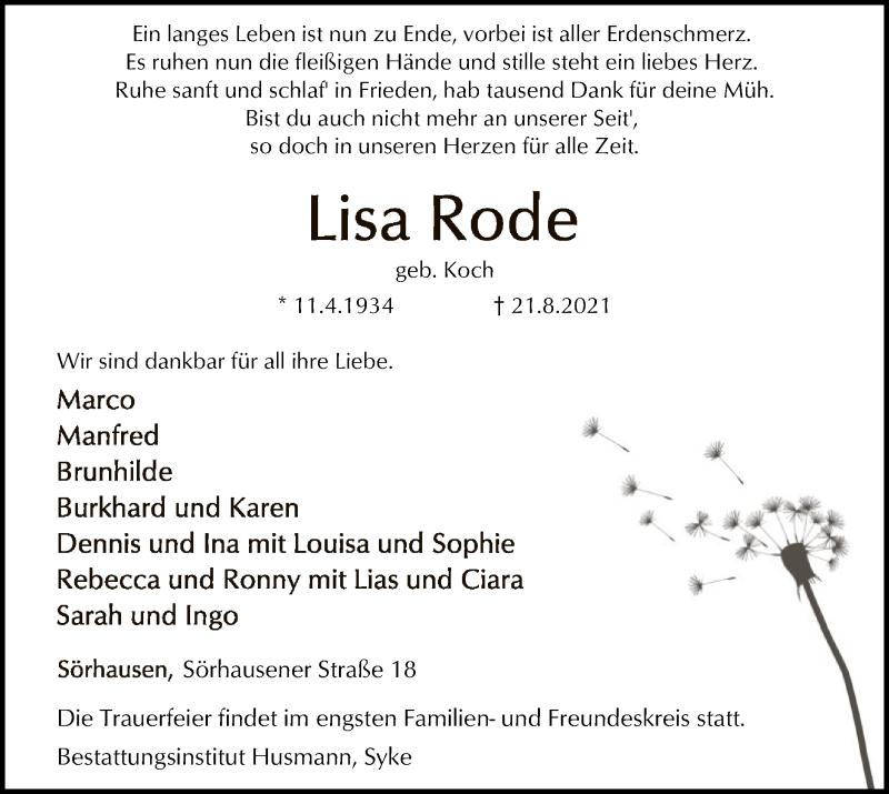 Traueranzeige für Lisa Rode vom 25.08.2021 aus SYK