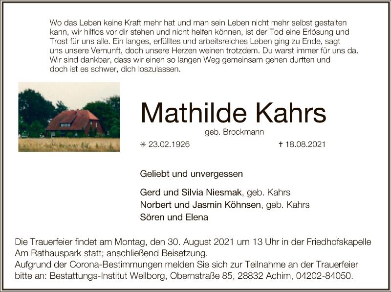 Traueranzeige für Mathilde Kahrs vom 24.08.2021 aus SYK
