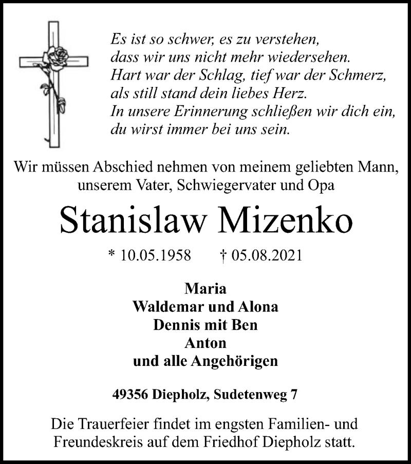 Traueranzeige für Stanislaw Mizenko vom 11.08.2021 aus SYK