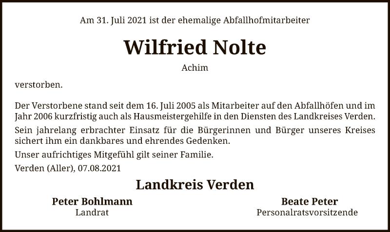 Traueranzeige für Wilfried Nolte vom 07.08.2021 aus SYK