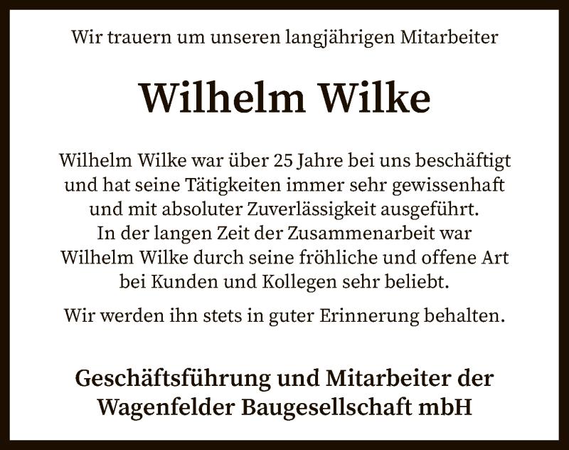 Traueranzeige für Wilhelm Wilke vom 04.08.2021 aus SYK