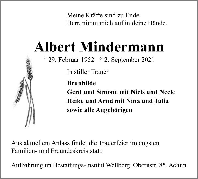 Traueranzeige für Albert Mindermann vom 07.09.2021 aus SYK