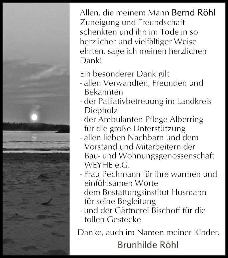 Traueranzeige für Bernd Röhl vom 18.09.2021 aus SYK