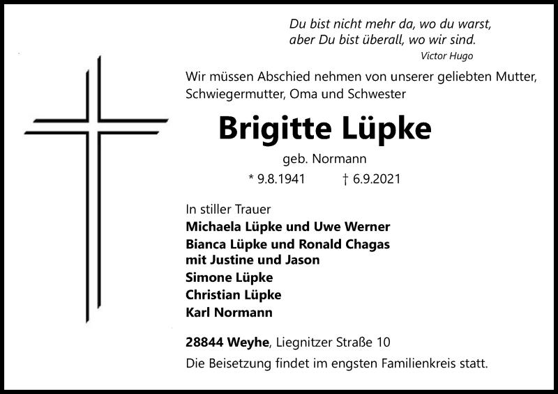 Traueranzeige für Brigitte Lüpke vom 11.09.2021 aus SYK