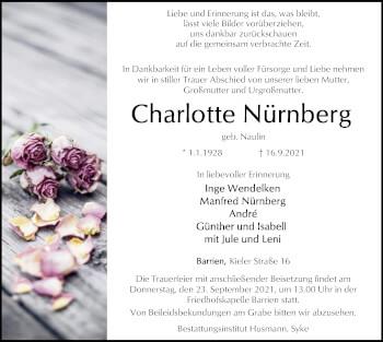 Traueranzeige von Charlotte Nürnberg von SYK