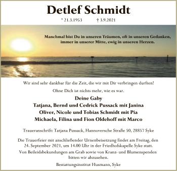 Traueranzeige von Detlef Schmidt von SYK
