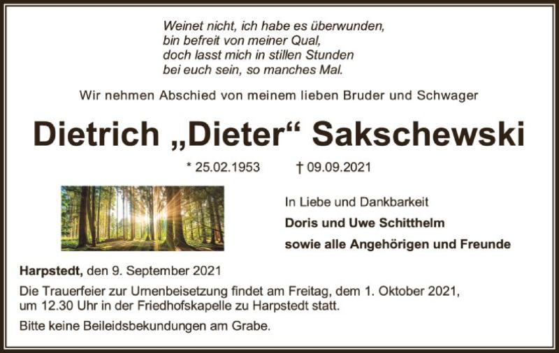 Traueranzeige für Dietrich Sakschewski vom 11.09.2021 aus SYK