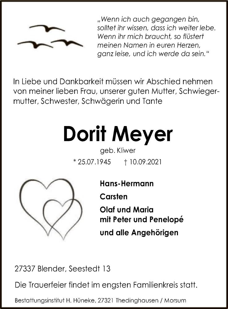 Traueranzeige für Dorit Meyer vom 14.09.2021 aus SYK