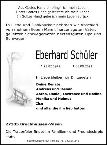 Traueranzeige von Eberhard Schüler von SYK