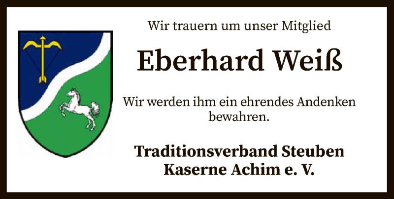 Traueranzeige für Eberhard Weiß vom 11.09.2021 aus SYK