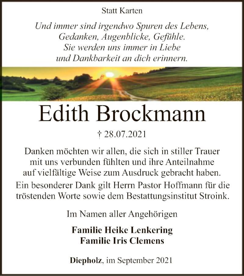 Traueranzeige für Edith Brockmann vom 18.09.2021 aus SYK