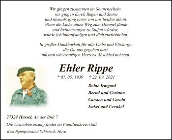 Traueranzeige von Ehler Rippe von SYK