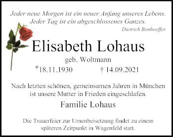 Traueranzeige von Elisabeth Lohaus von SYK