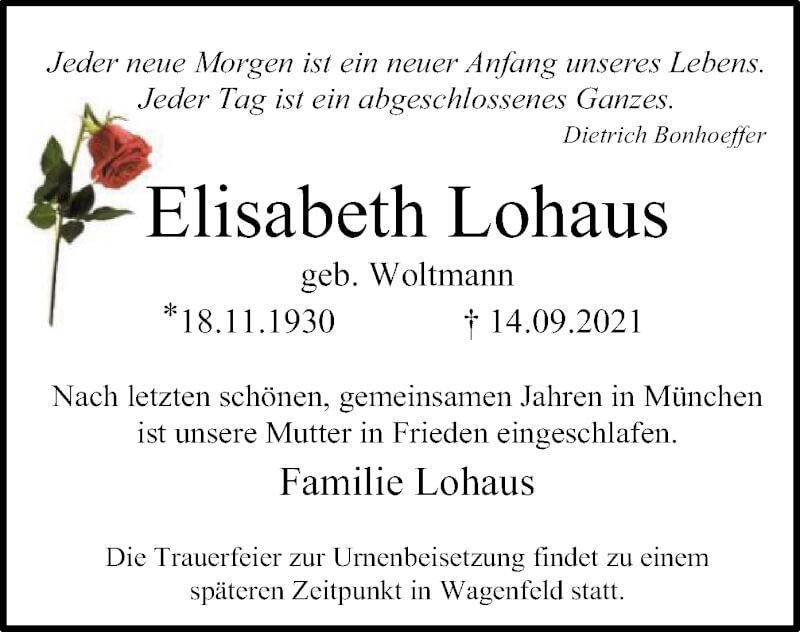 Traueranzeige für Elisabeth Lohaus vom 17.09.2021 aus SYK