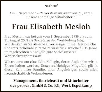 Traueranzeige von Elisabeth Mesloh von SYK