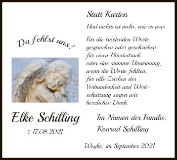 Traueranzeige von Elke Schilling von SYK