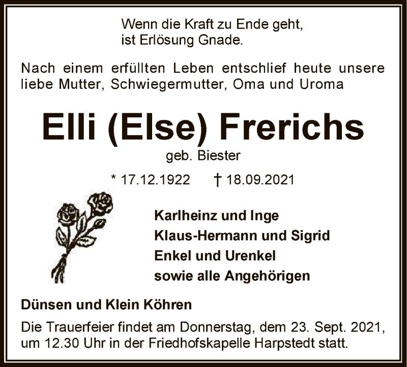 Traueranzeige für Elli Frerichs vom 21.09.2021 aus SYK