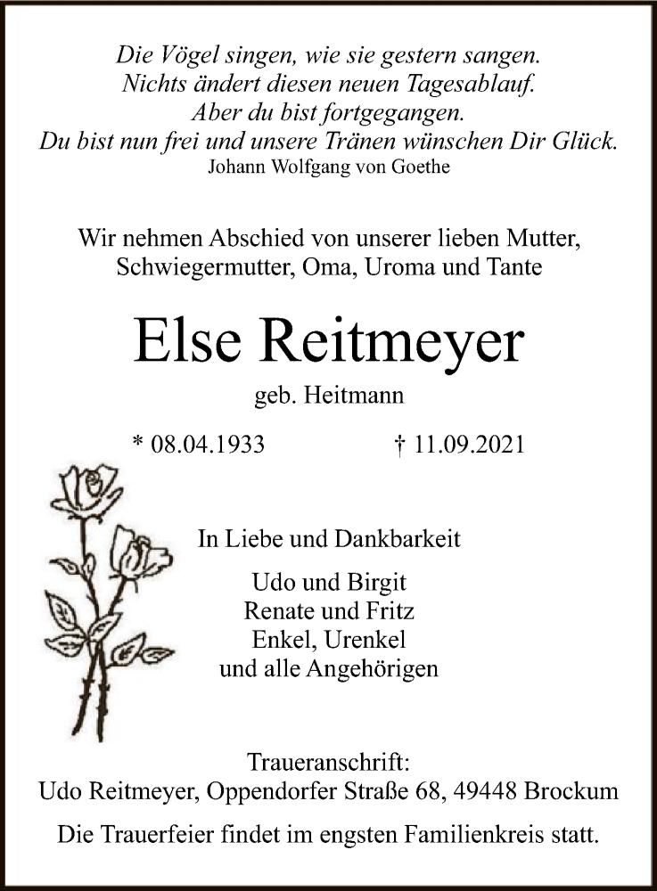Traueranzeige für Else Reitmeyer vom 14.09.2021 aus SYK