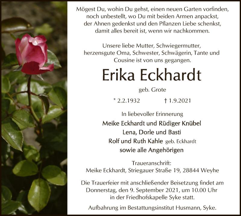 Traueranzeige für Erika Eckhardt vom 04.09.2021 aus SYK