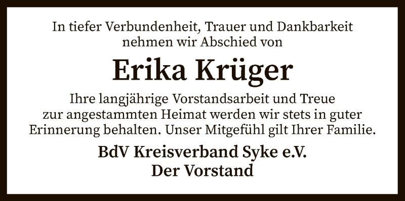 Traueranzeige für Erika Krüger vom 08.09.2021 aus SYK